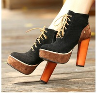 Free shipping  2013 sexy women's pumps Europe and thick with black lace boots Martin boots