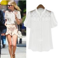 New 2014 Fashion Women's Blouses short-sleeve Autumn-Summer Chiffon Blouse Lace Tops Shoulder Pad Lace Shirts