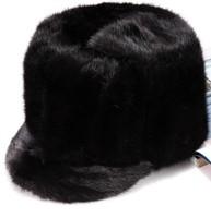 Men's flat cap hat outdoor winter mink mink fur warm hat black cap