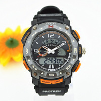 2013 new men military watch sports watches dual time digital quartz  backlight jelly rubber swim dive watch free shipping
