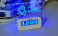 4 Port USB 2.0 Desk Hub Glowing Memo Alarm Clock & Temperature