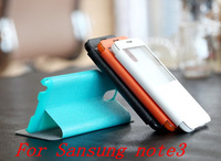 Free shipping S View Open Window Battery Housing Flip leaher Case Cover for Samsung Galaxy Note3 N9000