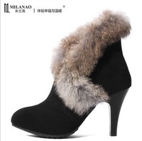 Free shipping 2013 winter new fashion women's high heels boots rabbit fur plush ankle boots sexy snow boots trend shoes 35-40