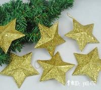 Christmas tree ornaments Christmas pink diamond star pendant accessories, Christmas hotel decorate scene 6 pack