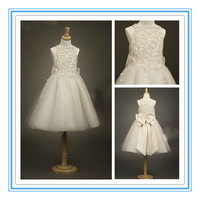 Real sample A-line floor length flower girl dresses ivory bow (FLSB-3001)