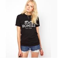 Free shipping women t shirt lady Spoof luxury brand logo printed round neck short sleeve T-shirt