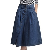 Free Shipping New Arrival! Women Denim  Placketing A-line Skirt, Plus Size Denim Autumn Skirts Fashion