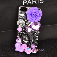 purple elegant flower phone diamond case back cover housing for samsung galaxy S4 S4 mini S3 S2 note 2 grand duos i9082 i9080