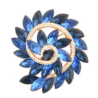 Luxury Spiral Shape Blue Upscale Australian Crystal Brooch Gold Plated Breastpin Alloy Brooch Pins Supreme Fashion Jewelry Gift