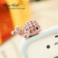 Whale diamond crystal Pendant charm Earphone Stopper Jack antidust  Ear Hole Cap Jack For Samsung S4 i9500 i9100 iPhone 4 5