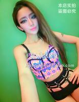 Fashion female singer ds costume neon geometric patterns graphic color block short tube top design tube top