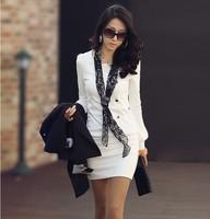 2014 New Spring Autumn Women's female OL Style fashion White Slim o-neck long-sleeve Dresses,Free Shipping