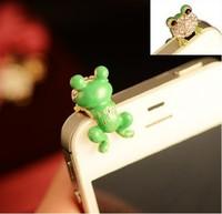 Green frog diamond crystal Pendant charm Earphone Stopper Jack antidust  Ear Hole Cap Jack For Samsung S4 i9500 i9100 iPhone 4 5