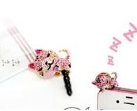 PINK Cat diamond crystal Pendant charm Earphone Stopper Jack antidust  Ear Hole Cap Jack For Samsung S4 i9500 i9100 iPhone 4 5