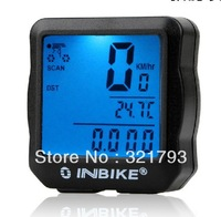 Free shiping,mountain bike bicycle speedometer with LCD backlight,waterproof bike computer odometer