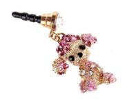 Poodle diamond crystal Pendant charm Earphone Stopper Jack antidust  Ear Hole Cap Jack For Samsung S4 i9500 i9100 iPhone 4 5