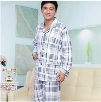 Spring and autumn the elderly male 100% cotton long-sleeve sleepwear loose Men plus size lounge set
