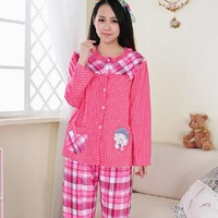 Set Of 2 2013 Autumn Women's Long-Sleeved Cotton Pajamas Pants Pink Plaid Shirt Free Shipping