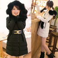 2013 slim autumn and winter female with a hood large fur collar fox fur down coat