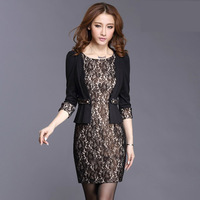 new 2013 casual dress  autumn women's vintage slim cutout lace high quality faux two piece female one-piece dress plus size