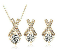 Gold/Silver Tone Rhinestone Cross Jewelry Sets Cubic Zircon Diamond Jewelry Sets JS064