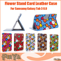 Fasion Sunflower Smart Cover Leather Case Stand Card Leather Cover for Samsung Galaxy Tab3 8.0 P8200 T310 T311 Free Shipping