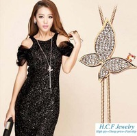 2013 New Gift Fashion Crystal Accessories Korea fashion Rose Gold Tassel Butterfly Long Necklace Sweater Chain Free Shipping