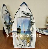 Creative Picture Frame Solid Wood  Mediterranean Sailing Photo Frame Sandbeach Sea Breeze Rahmen Free Shipping