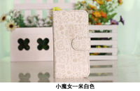 Little Witch Leather Flip Pouch Case Cover FOR ZTE v889s u807 MOBILE PHONE CASES 5color 1pcs
