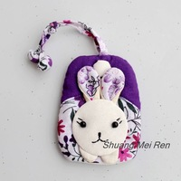10 pieces a lot Cartoon rabbit series handmade cloth keychain key ring key wallet key cover
