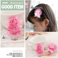 Free shipping, pink flower with bowknot hair clip children accessories