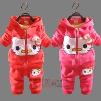 Autumn children's clothing child autumn clothing clothes cardigan set long sleeve length pants cartoon