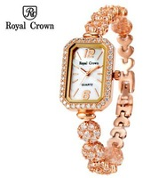 Royal Crown Charming Bracelet Jewelry Crystal WristWatch Lady Rhinestone Band Fashion Diamond Luxury Casual Dress Watches