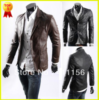 2013 New Fashion Men Coat Male Casual Long Sleeve Stand Collar Zipper Fly Slim PU Leather Jacket Overcoat Outerwear in Stock