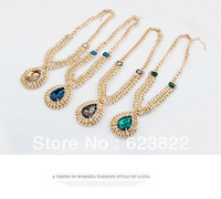 2013 New Gold Alloy Luxury Rhinestone Drop Pendant Choker Statement Bib Necklace Fashion Jewelry Gift For Women Wholesale Hot