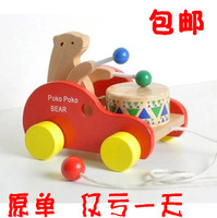 Free shipping  baby ploughboys cord toddler wooden toy car bear drum tractors  baby toys