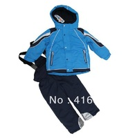 Factory direct sales children windproof ski jacket+ski pant children winter snow suit outdoor wear kids ski waterproof sets