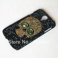 Stempunk Steam Punk Goth Style Black Bling Rhinestone Case Cover For Samsung GALAXY S4 / S 4 or IV i9500 with Skull
