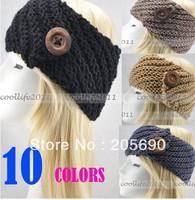 10 Pcs/LOt Women Ear Warmer Headband Hand Crafted BUTTON Knitting Hairband Headwrap
