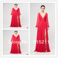 Cheap Price Sexy Deep V-neck Side Slit Long Sleeves Red Chiffon Long Evening Dress Elegant Party Gowns 2013 New Arrival