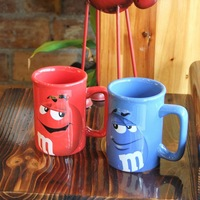 kitchen M&m beans ceramic commemorative  version cartoon mug cup tea cup glass cup 300ml