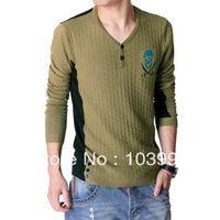 Hot Sale European and American  V-neck Mercerized Cotton Men Sweater , Knitted Cardigan Male ,2 Colors,Free shipping