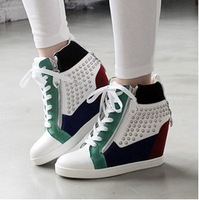 [Free shipping] 2013 New arrival fashion female flats sport elevator shoes casual high-top shoes big size women's sneakers