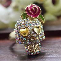 2013 New Christmas Gift Fashion Jewelry Full Crystal Rhinestone Skull Rose Ring Finger Ring
