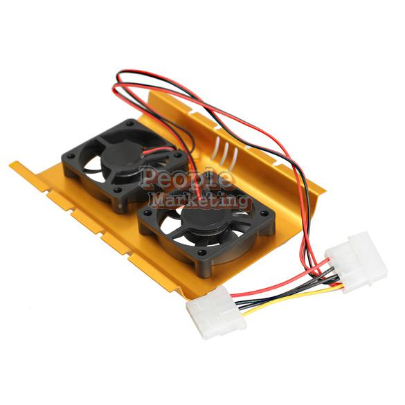 Dual Hard Driver Disk HDD Cooling Fan Desktop Cooler Radiator for Computer P4PM(China (Mainland))
