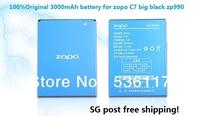 Wholesale ZOPO 990 C7 ZP990 big black 3000 mAh BT97S new Original Battery SG post free shipping batteries