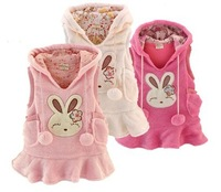 fleece thickening vests baby girls cartoon rabbit dress kids autumn winter jacket   baby tank dress free shipping