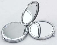 10Pcs Circle Blank Compact Mirror  Silver Makeup Mirror - Free Shipping