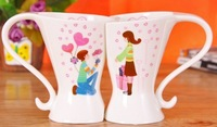Most fashion free shipping beautiful gift mug set lovers couple cups love