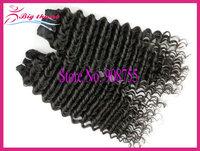 Luffy Hair 5pcs lot Unprocessed Brazilian virgin hair Deep wave, 5A grade 100% human hair, can color and bleach,